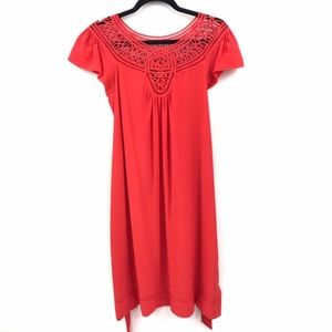 Banana Republic Red Silk Belted Tunic Dress XS